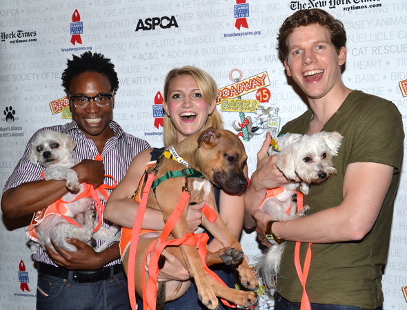 <i>Kinky Boots</i> stars Billy Porter and Stark Sands decided to let Annaleigh Ashford hold the heaviest dog.<br />(© David Gordon)