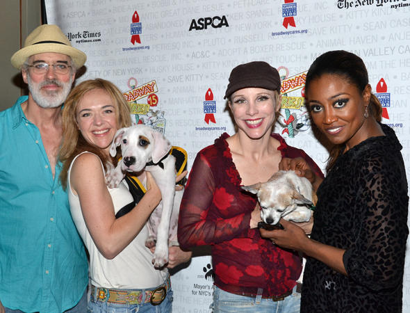 <i>Pippin</i> cast members Terrence Mann, Rachel Bay Jones, Charlotte d'Amboise, and Patina Miller show off their animal-friendly side.<br />(© David Gordon)