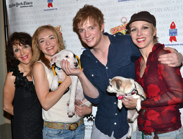 Andrea Martin and Matthew James Thomas join co-stars Rachel Bay Jones and Charlotte d'Amboise to pose with the pups.<br />(© David Gordon)