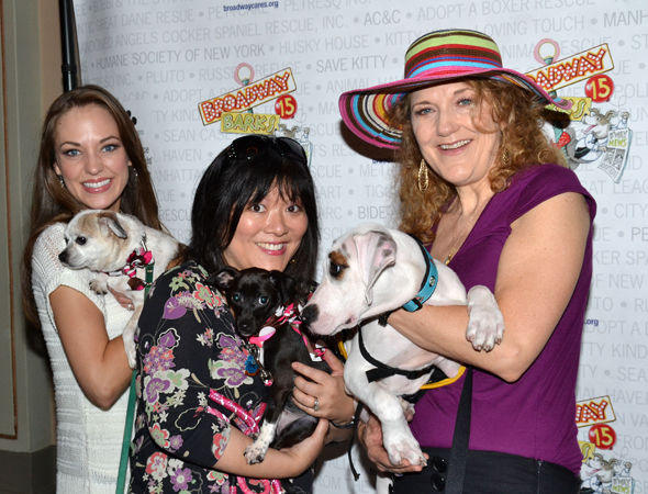 <i>Cinderella</i> stars Laura Osnes, Ann Harada, and Victoria Clark are all pet people.<br />(© David Gordon)