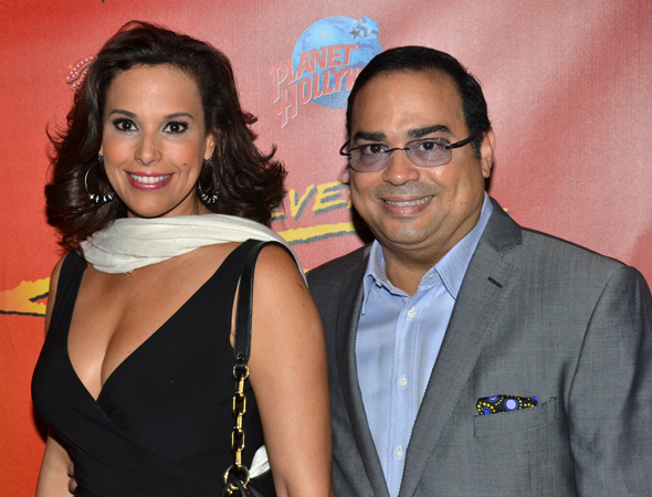 Legendary salsa singer Gilberto Santa Rosa celebrates his opening night with lovely wife, Alexandra Malagón.<br />(© David Gordon)
