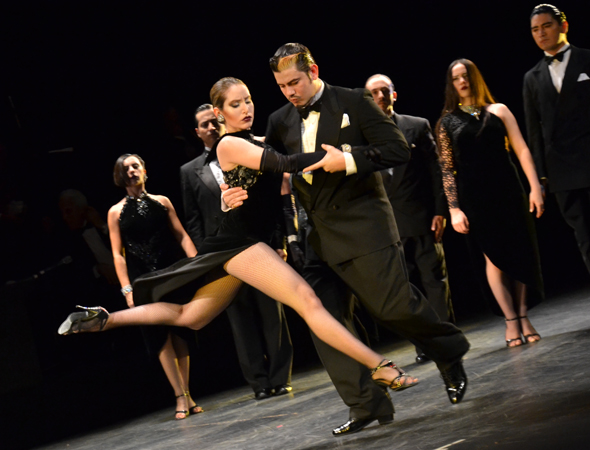 "Belén Bartolomé and ""Zumo"" Leguizamón dance a fiery tango on stage during the curtain call.<br />(© David Gordon)"