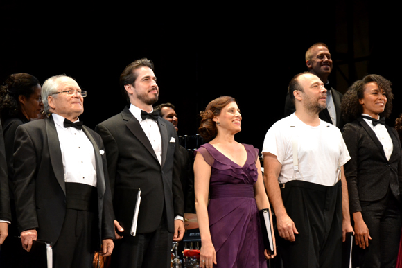 David Margulies, Matthew Saldivar, Judy Kuhn, Danny Burstein, and Eisa Davis smile as they bow.<br />(© David Gordon)