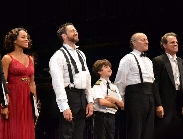 Anika Noni Rose, Raúl Esparza, Aiden Gemme, Peter Friedman, and Michael Park take their curtain call.<br />(© David Gordon)