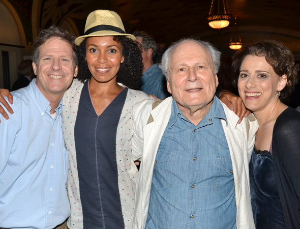 Martin Moran, Eisa Davis, David Margulies, and Judy Kuhn make up the <i>Cradle Will Rock</i> family.<br />(© David Gordon)