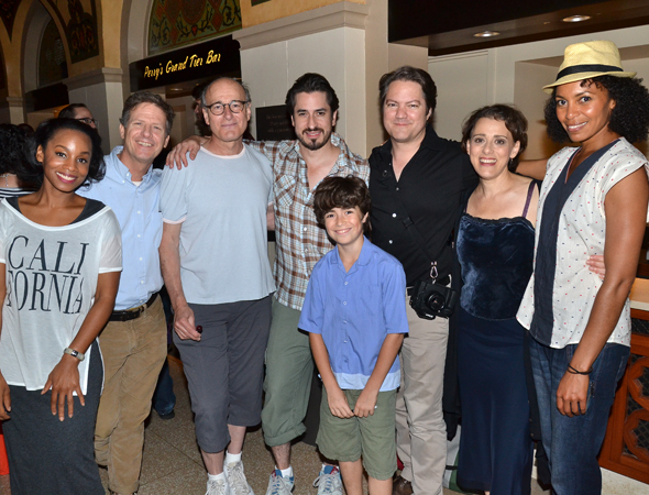 A group shot with company members Anika Noni Rose, Martin Moran, Peter Friedman, Matthew Saldivar, Aiden Gemme, Robert Petkoff, Judy Kuhn, and Eisa Davis.<br />(© David Gordon)