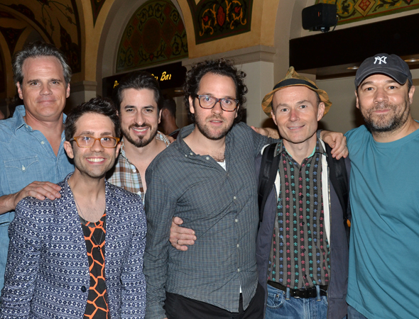 The men of <i>The Cradle Will Rock</i>: Michael Park, choreographer Chase Brock, Matthew Saldivar, director Sam Gold, Henry Stram, and Danny Burstein.<br />(© David Gordon)