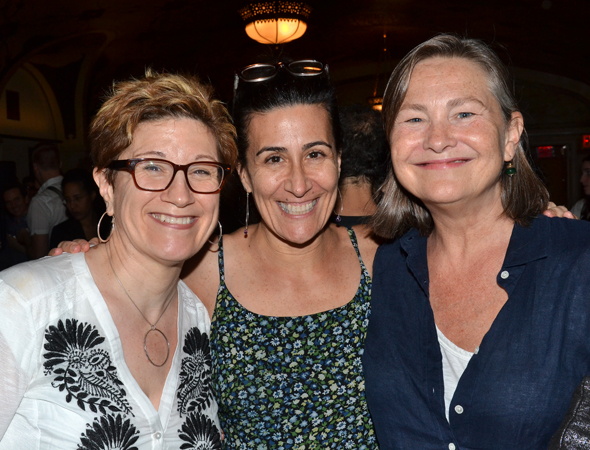 Encores! Off-Center Artistic Director Jeanine Tesori (center) joins Lisa Kron and Cherry Jones, who performed in a pre-show reading of letters from Marc Blitzstein and John Houseman.<br />(© David Gordon)