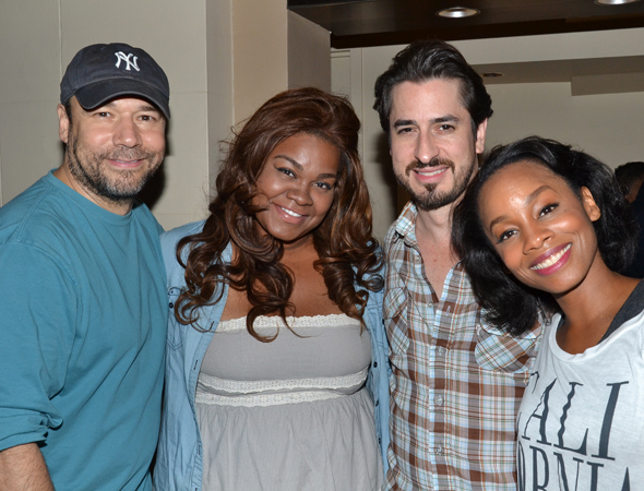 Danny Burstein, Da'Vine Joy Randolph, Matthew Saldivar, and Anika Noni Rose are all smiles upon completing their final performance.<br />(© David Gordon)