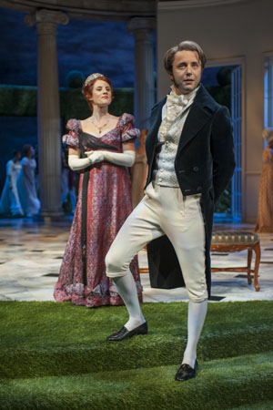 Anna Sundberg (Caroline Bingley) in a scene with Vincent Kartheiser (Fitzwilliam Darcy).<br />(© Michael Brosilow)