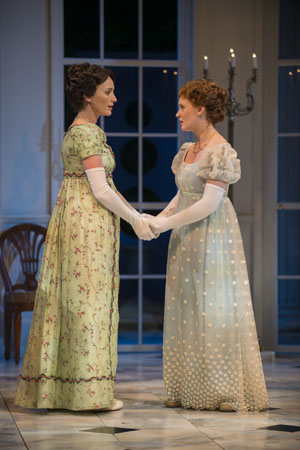 Christine Weber (Jane) shares the stage with Ashley Rose Montondo (Elizabeth Bennet).<br />(© Michael Brosilow)