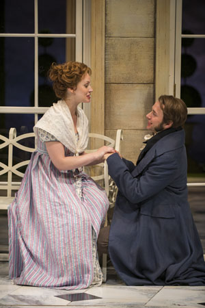 Ashley Rose Montondo and Vincent Kartheiser star as Austen's romantic pair of Elizabeth Bennet and Mr. Fitzwilliam Darcy.<br />(© Michael Brosilow)