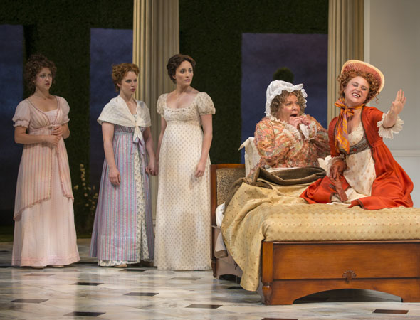 Pictured from left to right: Ivy Beech (Kitty Bennet), Ashley Rose Montondo (Elizabeth Bennet), Christine Weber (Jane Bennet), Suzanne Warmanen (Mrs. Bennet), and Aeysha Kinnunen (Lydia Bennet). <br />(© Michael Brosilow)