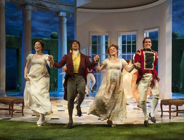 Pictured from left to right: Christine Weber (Jane Bennet), Juan Rivera Lebron, Aeysha Kinnunen (Lydia Bennet) and Emanuel Ardeleanu.<br />(© Michael Brosilow)