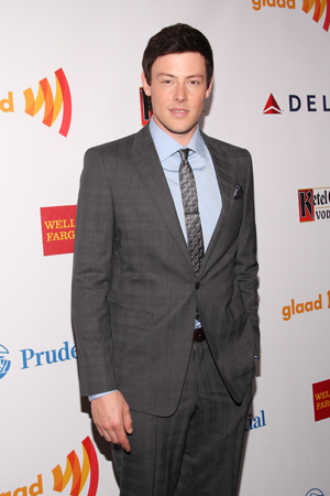Cory Monteith looks sharp as he prepares to host the GLAAD Media Awards in 2012.<br />(© Tristan Fuge)