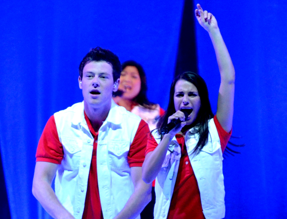 On June 18, 2011, <i>Glee</i> cast members including Monteith, Lea Michele, and Jenna Ushkowitz took to the stage at Nassau Veterans Memorial Coliseum as part of the worldwide tour <i>Glee Live! In Concert!</i><br />(© David Gordon)