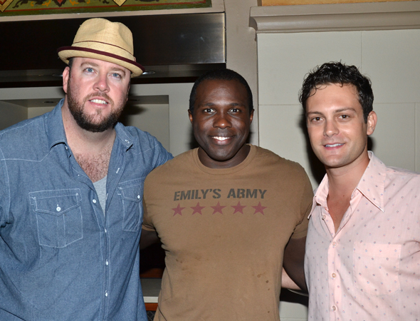 Cast members Chris Sullivan, Joshua Henry, and Van Hughes are thrilled to celebrate their big night.<br />(© David Gordon)