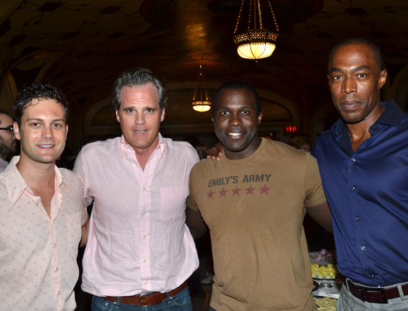 Original <i>Violet</i> cast members Michael Park (second from left) and Michael McElroy (fourth from left) join their 2013 counterparts, Van Hughes and Joshua Henry, for a reunion pic.<br />(© David Gordon)