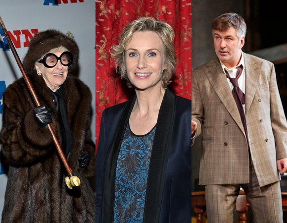 Left to right: 2013 Emmy Award nominees Elaine Stritch, Jane Lynch, and Alec Baldwin.