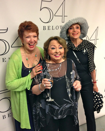 Donna McKechnie and Lilian Montevecchi enjoy a night out with Hines. <br />(courtesy of 54 Below)