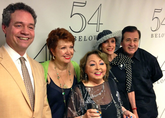 Mark Sendroff, Donna McKechnie, Mimi Hines, Liliane Montevecchi, and Lee Roy Reams backstage at 54 Below. <br />(courtesy of 54 Below)