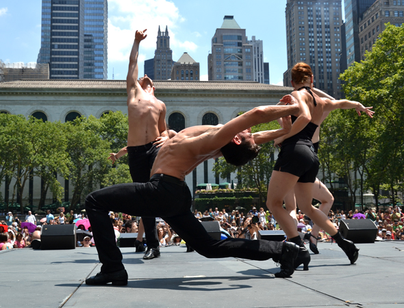 The muscular physiques of the <i>Chicago</i> cast were on display in Bryant Park.<br />(© David Gordon)
