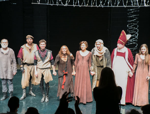 The cast of Howard Barker's <i>The Castle</i> take their bows.<br />(© Jimmy Ryan)