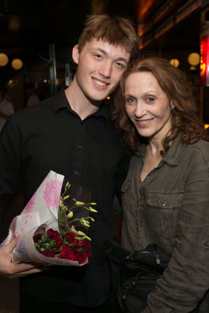 <i>The Castle</i> star Jan Maxwell celebrates opening night with her son, Will Maxwell-Lunney.<br />(© Jimmy Ryan)