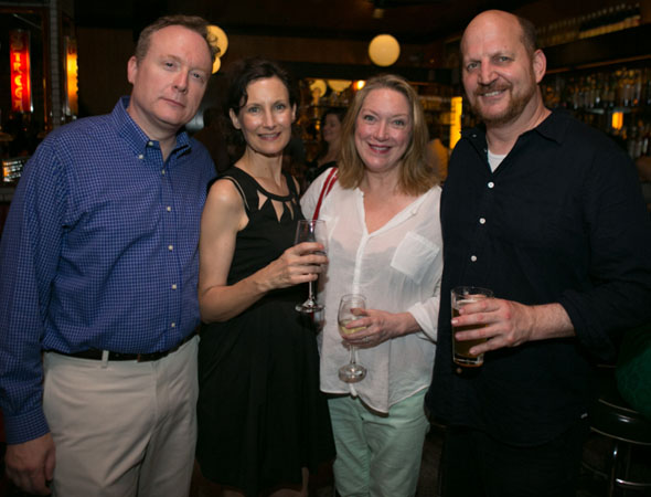 Tony Award nominee Kristine Nielsen (third from left) smiles alongside PTP/NYC cast members Brent Langdon (<i>The Castle</i>), Nesba Crenshaw (Serious Money</i>), and Steven Dykes (<i>Serious Money</i> and <i>The Castle</i>).<br />(© Jimmy Ryan)