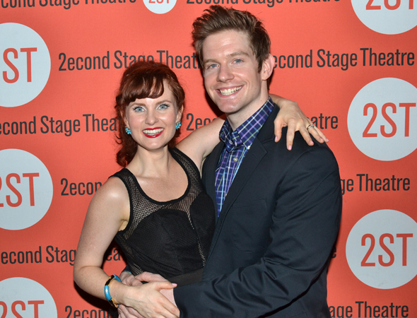 Onstage couple Autumn Hurlbert and Rory O'Malley get close for the cameras.<br />(© David Gordon)