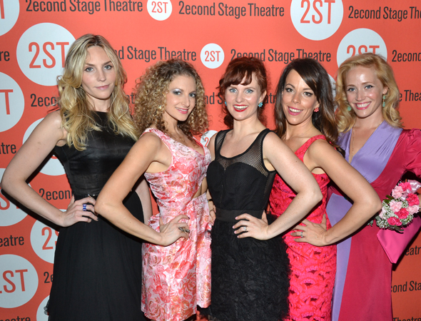 The lovely ladies of <i>Nobody Loves You</i>: Aleque Reid, Lauren Molina, Autumn Hurlbert, Leslie Kritzer, and Haven Burton.<br />(© David Gordon)
