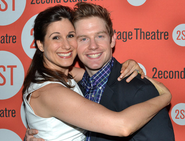 Stephanie J. Block congratulates Rory O'Malley on a job well done.<br />(© David Gordon)
