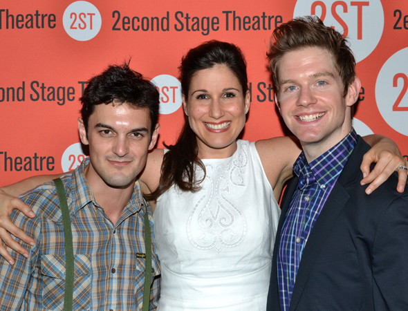 Wesley Taylor and Rory O'Malley flank Stephanie J. Block for a special photo.<br />(© David Gordon)