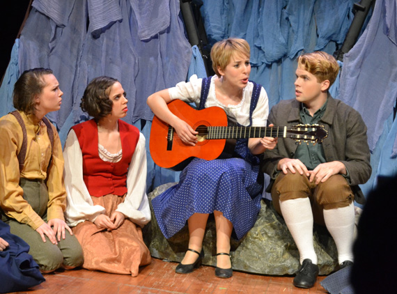Mathilde (Ashley Ball) continues her music lessons with the children (Becky Whitcomb, Maggie Wetzel, and Christopher Tiernan) as they journey deep into the alps in <I>The Hills Are Alive</I>.