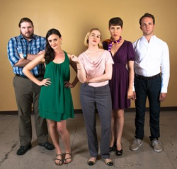 The cast of <I>A Serious Person and Then Some</I>: Nicholas J. Pearson, Elizabeth Dilley, Jessica Ayers, Loralee Tyson, and Adam Levinthal.