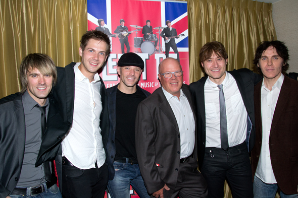 Ryan Alex Farmery, Luke Roberts, James Fox, lead producer Jeff Parry, Reuven Gerson, and John Brosnan celebrate their opening.<br />(© David Gordon)