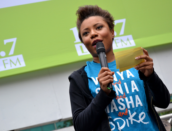 Co-host Shalita Grant introduces one of the afternoon's performances.<br />(© David Gordon)