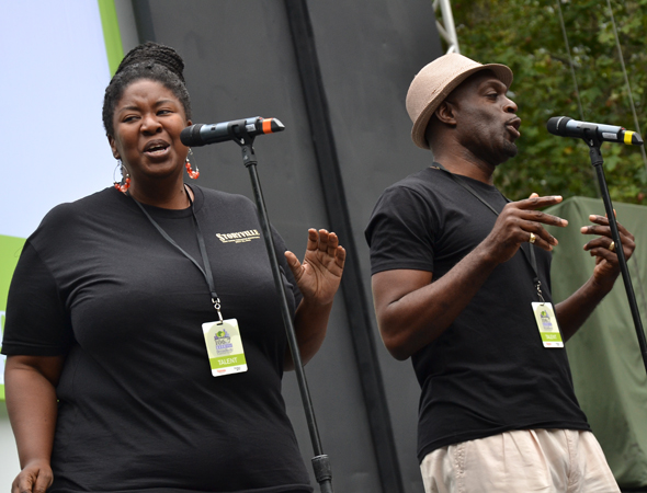 NaTasha Yvette Williams and Michael Leonard James sing &quot;Welcome to New Orleans&quot; from <i>Storyville</i>.<br />(© David Gordon)