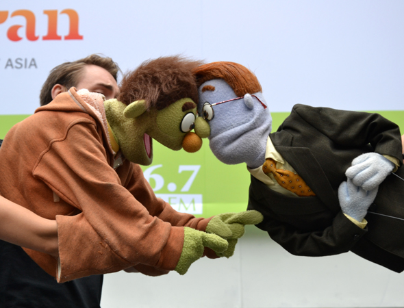 <i>Avenue Q</i> stars Nicky and Rod are at odds during &quot;It Sucks to be Me.&quot;<br />(© David Gordon)