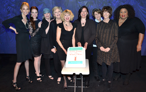 Nora and Delia Ephron (second and third from right) join the cast of off-Broadway's <i>Love, Loss, and What I Wore</i> to commemorate the show's 1000th performance.<br />(© David Gordon)