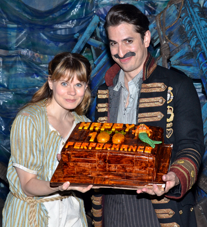 Celia Keenan-Bolger and Matthew Saldivar celebrate <i>Peter and the Starcatcher</i>'s 100th performance on Broadway with this beautiful cake.<br />(© David Gordon)