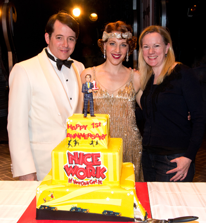 Matthew Broderick, Jessie Mueller, and Kathleen Marshall ring in <i>Nice Work if You Can Get It</i>'s first anniversary with this multi-layered cake.<br />(© David Gordon)