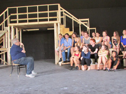 Richard Maltby Jr. offers some words of wisdom to the cast of <I>Miss Saigon</I>.