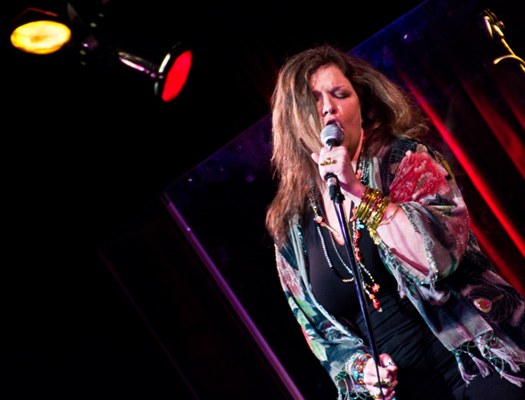 "Mary Bridget Davies rocks out as Janis Joplin while singing the classic ""Me and Bobby McGee.""<br />(© David Gordon)"