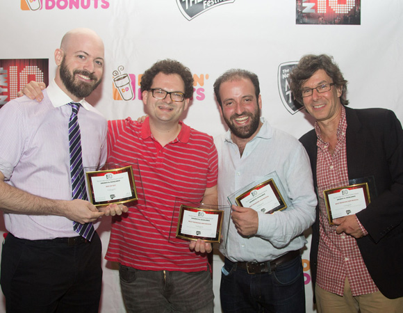 "Here is Neil Patrick Stewart (director), Eli Bolin (composer), Sam Forman (lyricist), and Rob Ackerman (book), the creative team behind <I>Volleygirls</I>, which won this year's ""Best of Fest"" Audience Prize.<br />(© Seth Walters)"