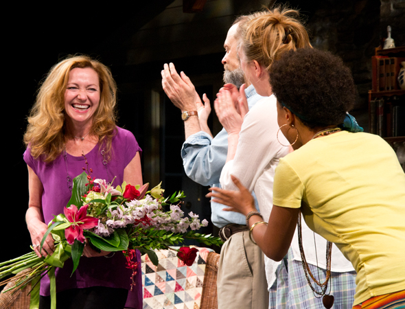 Upon completing her first performance, Julie White is applauded by her co-stars David Hyde Pierce, Kristine Nielsen, and Shalita Grant.