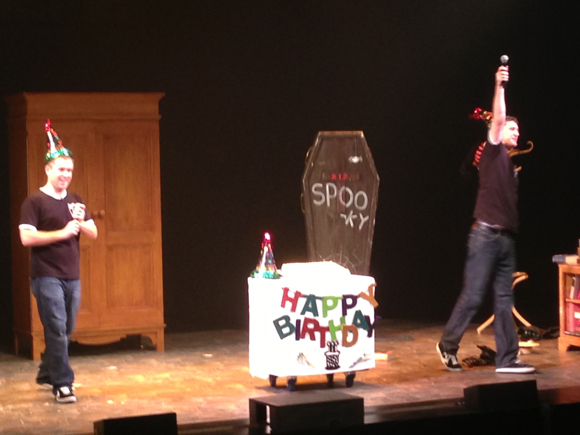 "Jefferson Turner and Daniel Clarkson lead the audience in a rousing rendition of ""Happy Birthday."""