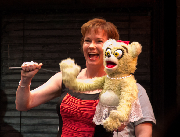 Original cast member Jennifer Barnhart reunites with one of her many characters, a Bad Idea Bear.<br />(© David Gordon)
