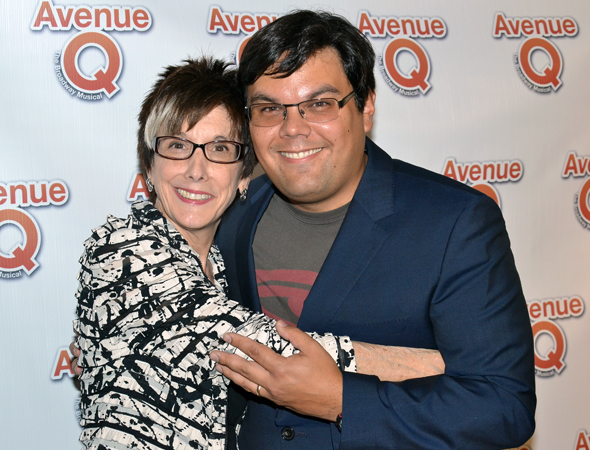 Producer Robyn Goodman hugs her show's co-author, multiple Tony Award winner Robert Lopez.<br />(© David Gordon)