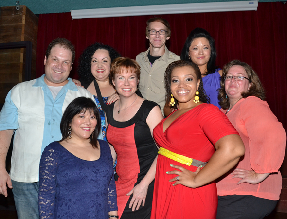 Original <i>Avenue Q</i> cast members Jordan Gelber, Ann Harada, Aymee Garcia, Jennifer Barnhart, Rick Lyon, Carmen Ruby Floyd, Erin Quill, and stage manager Christine M. Daly.<br />(© David Gordon)